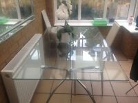 Glass table & 4 chairs