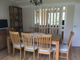 Oak Dining Table with 8 matching chairs