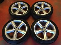 18'' GENUINE AUDI A5 S LINE 5 SPOKE ALLOY WHEELS TYRES 5X112 ET29 A4 B8
