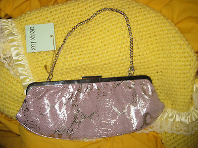 Deux Lux clutch purse faux snake pink & silver & silver chain vtg new with tags Lux Snake