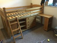 Single Pine? Midsleeper bed set with units and memory foam mattress