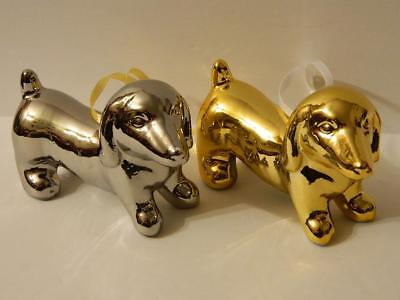 Dachshund Silver Gold Xmas Ornaments Wiener Dog Sausage Doxie Figurines Set/2, used for sale  Uniontown
