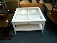 White and glass coffee table with storage #32441 £35