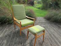 Retro Vintage Armchair & Footstool - Completely Refurbished & Reupholstered - BARGAIN!