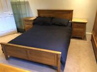 Double bed and bedroom furniture solid oak