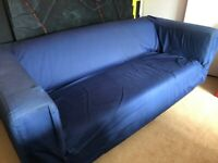 Loose cover, blue IKEA sofa. Really comfy