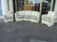 Art Deco Leather 3 Piece Suite / Retro Vintage Leather Sofa & 2 Armchairs