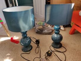 Two teal bedside table lamps, £15 ONO for the pair