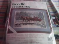 New tapestry kit of a xmas scene of a family in a horse-draw sleigh.