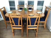Pine table extendable and 6 chairs Delivery available or pick up