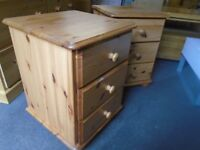 Pine bedsides x 2, drawers