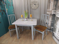 Shabby chic vntage style dining table with 2 chairs