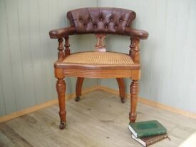 Stunning Brown Leather and Oak Chesterfield Captains Chair.