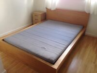 IKEA Malm Double Bed frame, comes with mattress, bedside table & wardrobe