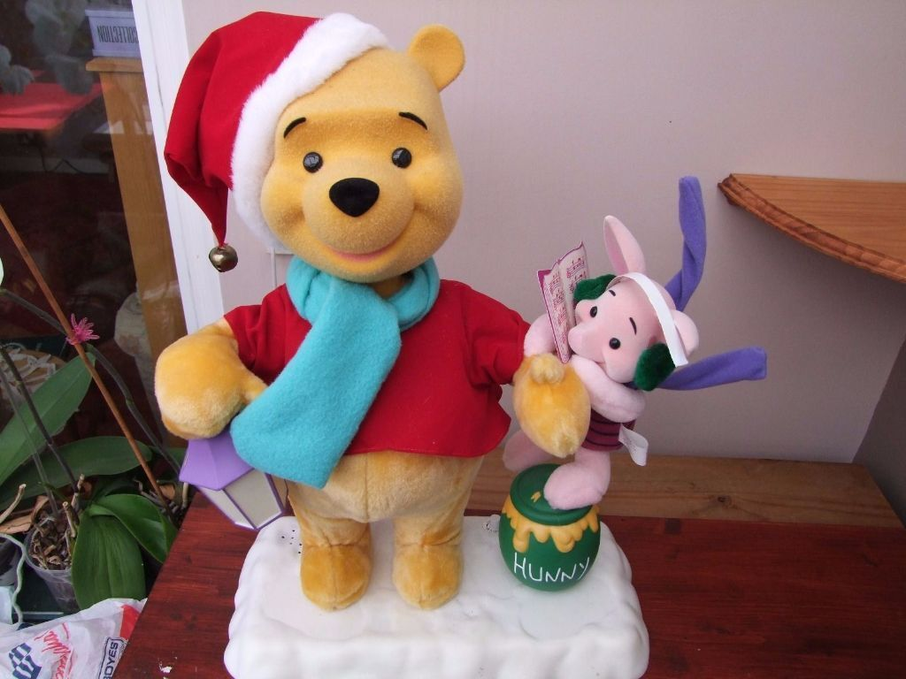 christmas lights winnie the pooh and piglet illuminated and animated figure