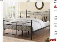 For sale black metal frame double bed with mattress bargain £135 Ono