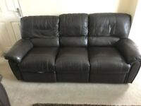 Brown faux leather 3 and 2 seater sofa