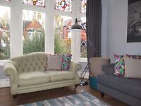 Green LAURA ASHLEY Button Back 2 Seater Sofa Chesterfield
