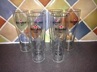Set of 6 Heineken beer pint glasses
