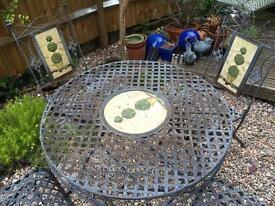 French style wrought Iron 5 piece garden set