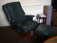 Stylish AvantGlide Leather Recliner Chair and Foot Stool