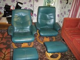 2 x leather 360 degree Swivel and Recliner chars with 2 x foot stools