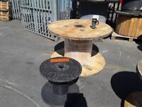 CABLE DRUMS REELS RECLAIMED READY FOR UP CYCLE INTO TABLES OR DISPLAYS ETC