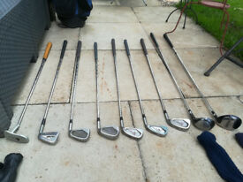 9 Golf Clubs w/ Golf Bag & Accessories