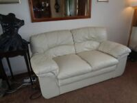 Cream Leather Sofa, In very good condition and very comfortable.