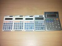 Job lot of 5 x Aurora and Sharp Handheld Calculator