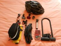 Brand new bike helmet, lock and other accessories