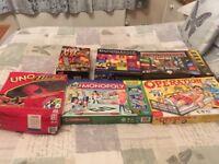 6 games, operation, monopoly x 2, jenga extreme, uno, goggle box