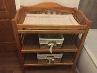 Solid wooden baby changing table / unit with extras