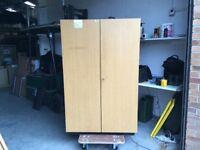 Oak effect cupboard with light box/shelf