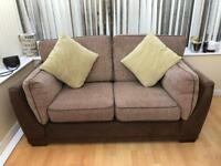 Beautiful brown fabric 2 seater and single seat