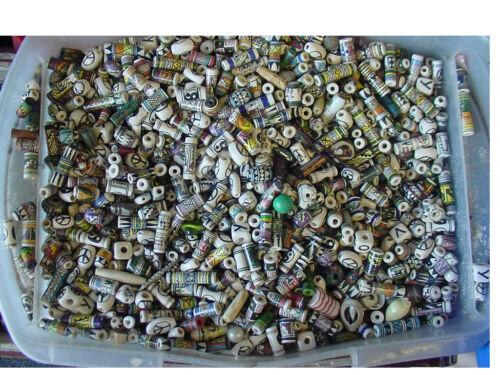 lot of 100 Hand Painted Vintage mixed Ceramic Peruvian Inca loose Bead -1980