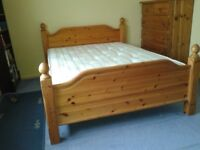 Pine bed with mattrass