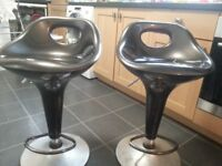 Two black bar stools