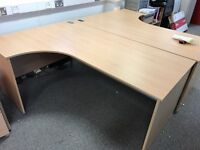 Beech effect corner office desks, 6 available