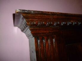 Antique Oak Fireplace Mantle with Mirror