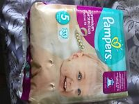 Pampers nappies size 5 not opened premium protection active fit 35 nappies in pack bargin £4