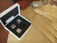 Linen runner and napkins and Vera Wang napkin rings