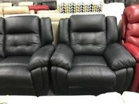 High retail black leather reclining sofa with matching electric reclining chair