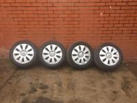 """4x GENUINE AUDI A3 A4 16"""" ALLOY WHEELS NEARY NEW TYRES"""