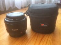 Canon EF 1.8 50mm mk2 lens, with original box and Lowepro case
