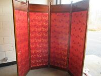 ANTIQUE VINTAGE MAHOGANY AND SILK FOUR PANEL DRESSING SCREEN PARTITION ROOM DIVIDER FREE DELIVERY