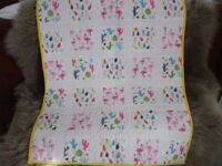 Patchwork and quilted cot or pram quilt / throw
