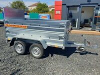 BRAND NEW MODEL 8.7x4.2 TWIN AXLE TRAILER DOUBLE BROADSIDE AND RAMP WITH MANUAL TIPPING FEATURE