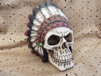 NATIVE AMERICAN INDIAN CHIEF SKULL WEARING FULL HEADDRESS ~ GOTH HORROR ~ NEW!
