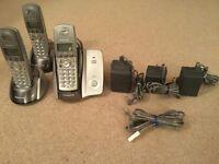 Panasonic cordless telephones (x3) and answer machine